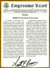 Congressional Record Tribute to Jack Williams